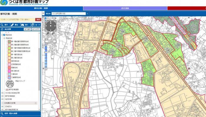 つくば市の都市計画マップ